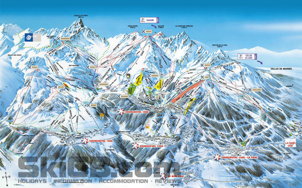 Courchevel Piste Maps up to date with the latest lifts and pistes